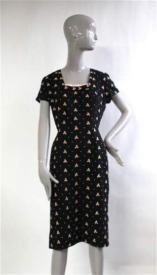 1950's Embroidered Black Linen Dress