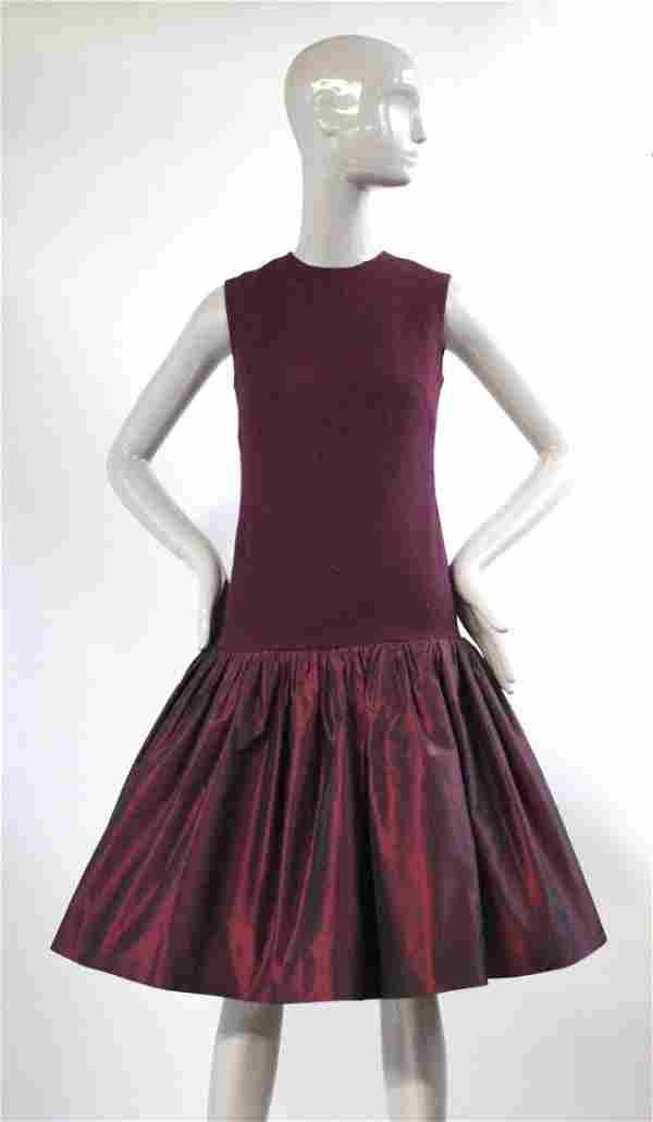 Rebecca Paris Couture Burgundy Dress, ca. 1960s