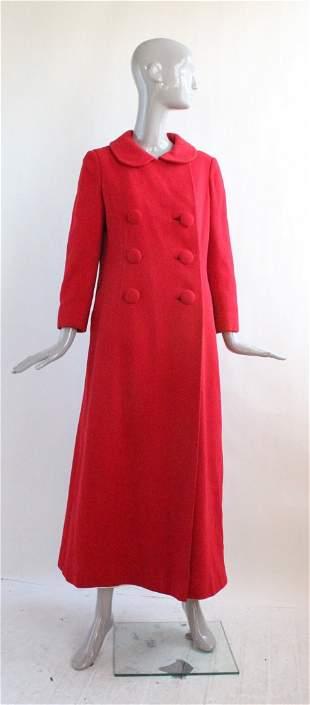 Julie Inc. Red Wool Maxi Coat, ca. 1960's