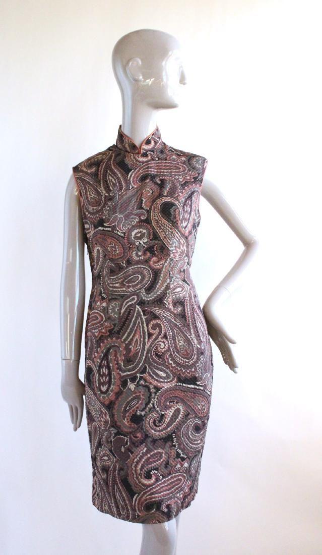Chinese Style Paisley Print Silk Dress, 1960's