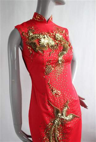 Dragon & Phoenix Embroidered Red Chinese Dress,