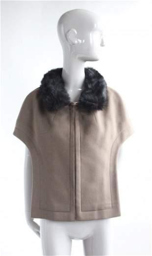 Pierre Cardin Couture Wool Cape w Fur Collar, F/W 1967