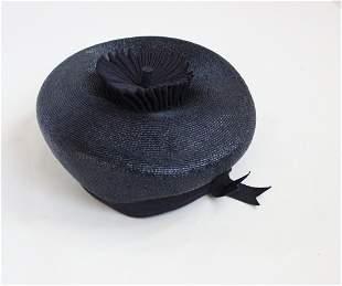 Hattie Carnegie Straw & Grosgrain Hat, ca. 1960s