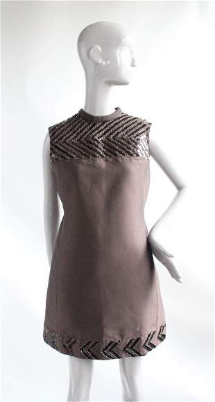 Madelene Couture Embroidered Silk Dress ca.1968