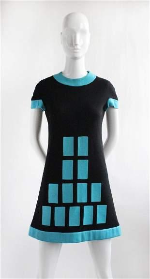 Pierre Cardin Black & Blue Knit Dress, ca. 1968
