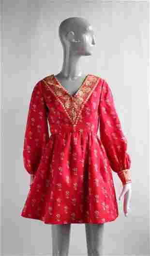 Chester Weinberg Red Silk Mini Dress, 1960s