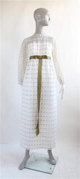 Bonwit Teller White Lace Maxi Dress, 1970's