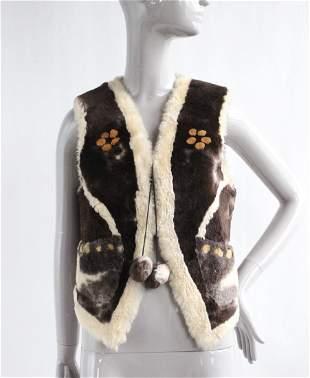 Yulan Shanghai Fur Factory Shearling Vest, 1970's