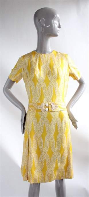 Yellow Rope Print Silk Twill Dress, ca.1970s