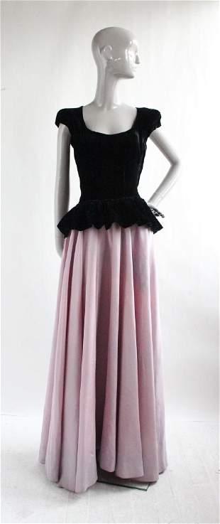Ceil Chapman Black Velvet & Taffeta Evening Dress 1940s