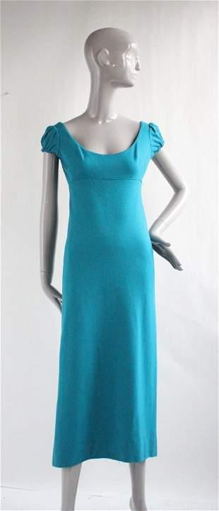 Designed by Jax Blue Wool Jersey Dress, ca. 1960's
