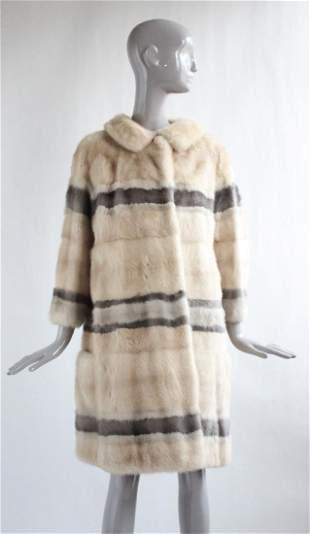 Christian Dior Ivory & Gray Mink Fur Coat, ca. 1960's