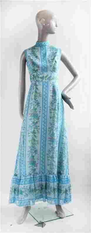 Angelair by Monica Blue Floral Maxi Dress, 1970's
