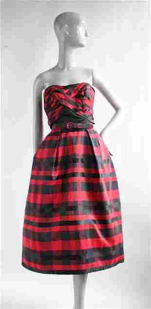 I. Magnin Importers Silk Taffeta Tartan Dress, ca.1950s