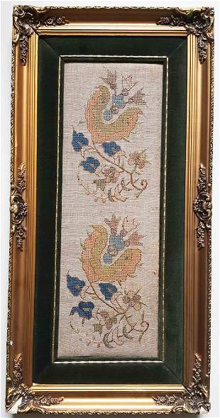19th c. Antique Ottoman Turkish Framed Embroidery