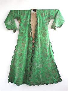 Antique Turkish Green Silk Caftan, 19th