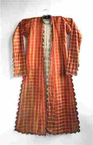 Antique Turkish Orange Plaid Silk Caftan, 19th