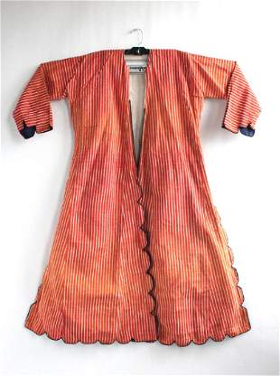 Turkish Red & White Striped Moire Caftan 20th c.