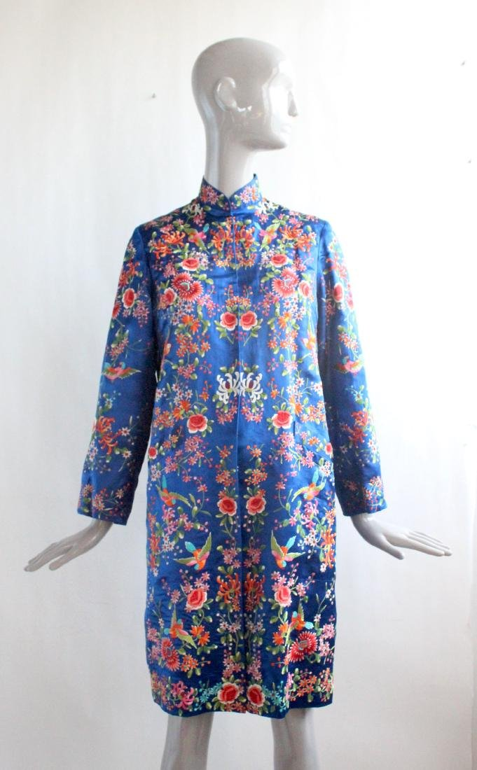 Plum Blossom Chinese Embroidered Coat , 1960's