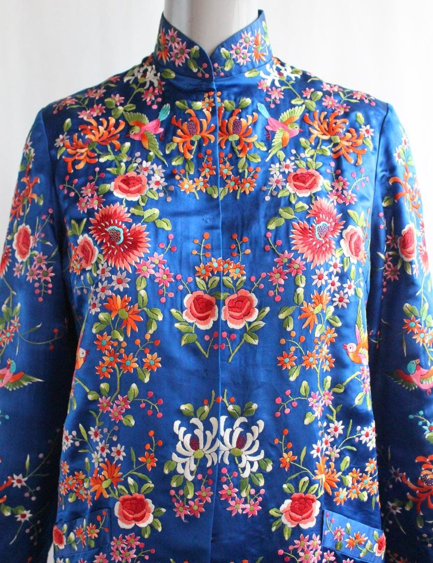 Plum Blossom Chinese Embroidered Coat , 1960's - 2