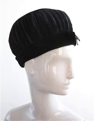 Dachettes Lilly Dache Black Velvet Hat 1960s