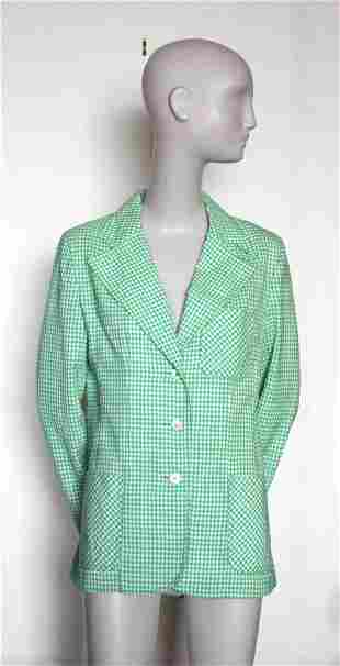 JH Collectibles Green Gingham Jacket 1970s