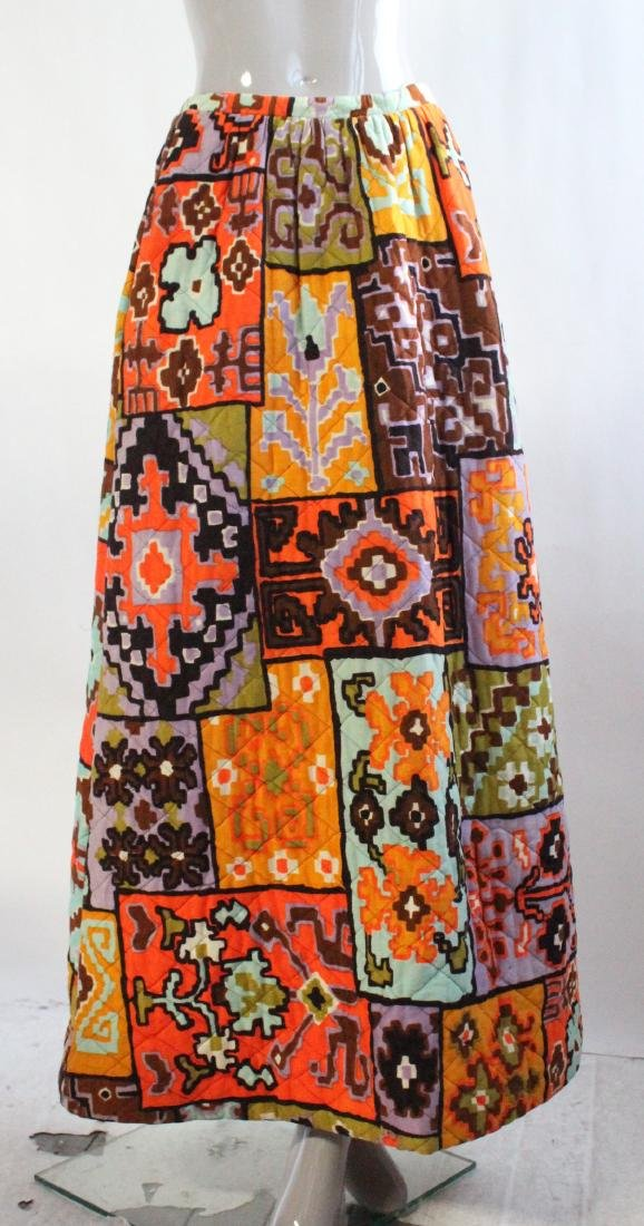 Quilted Ethnic Print Maxi Skirt, ca. 1970's