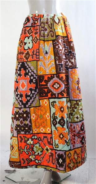 Quilted Ethnic Print Maxi Skirt ca 1970s