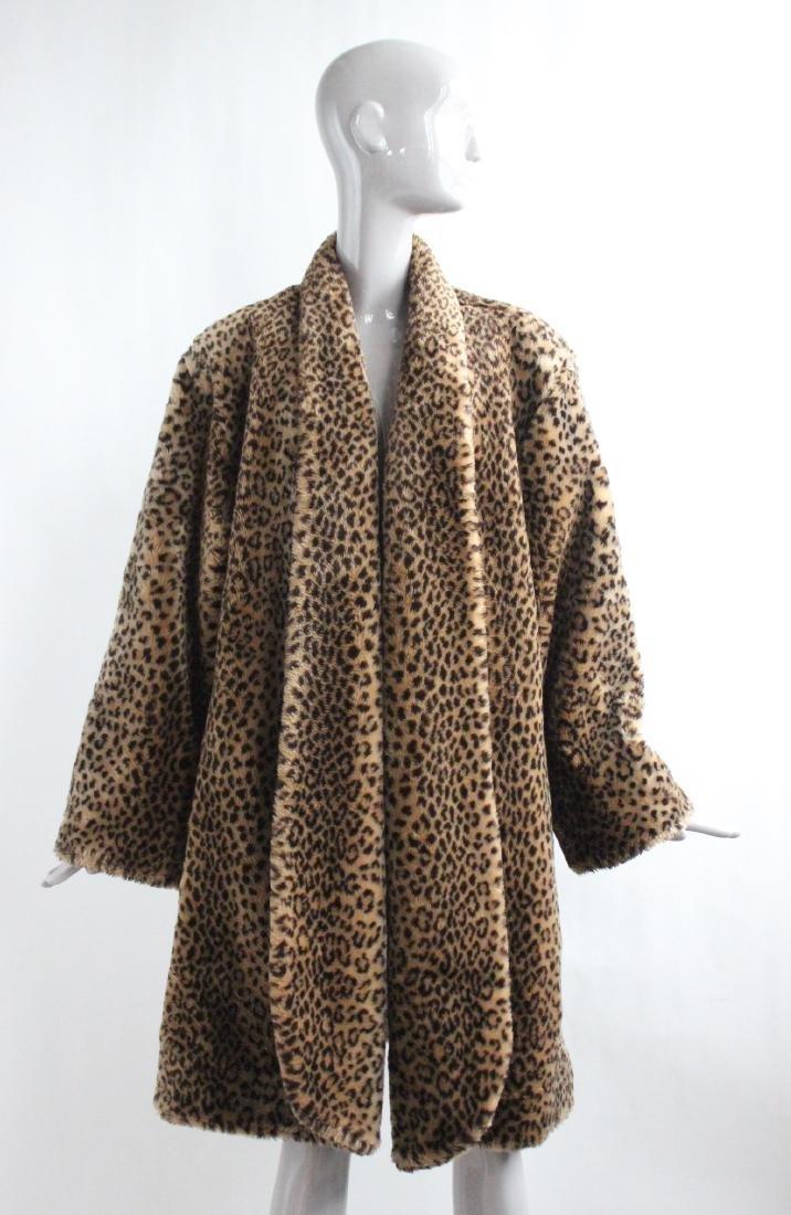 Marvin Richars Faux Leopard Fur Swing Coat, ca.1990's