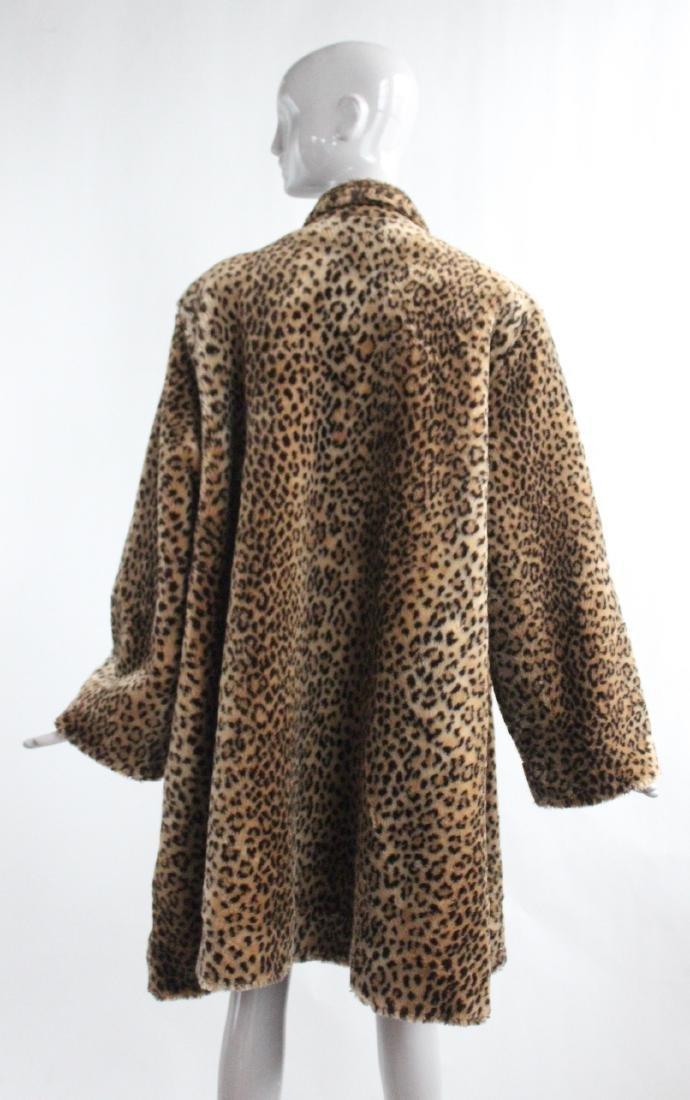 Marvin Richars Faux Leopard Fur Swing Coat, ca.1990's - 2