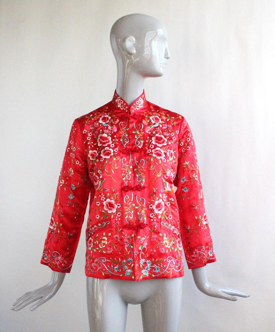 Plum Blossom Chinese Embroidered Red Jacket , 1960's