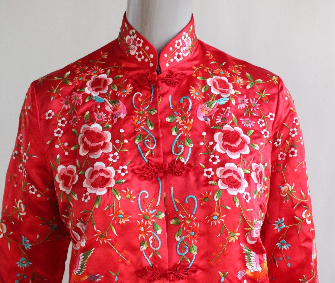 Plum Blossom Chinese Embroidered Red Jacket , 1960's - 2