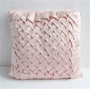 Antique Pink Silk Satin Feather Pillow