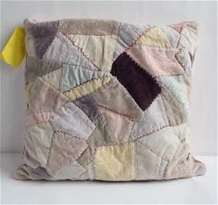 Antique Velvet Crazy Quilt Feather Pillow