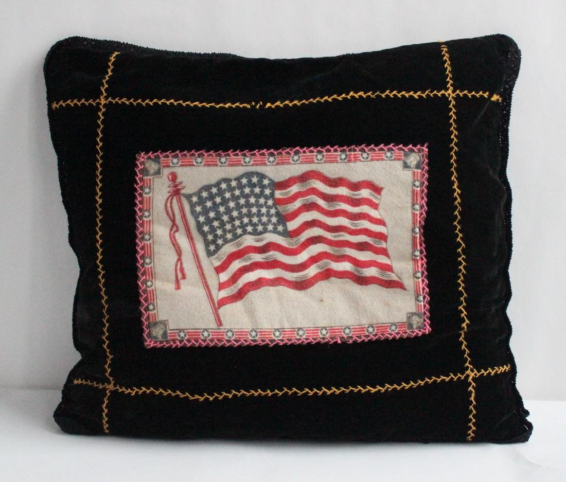 Antique Handmade Feather Pillow with Felt Tobacco Flag