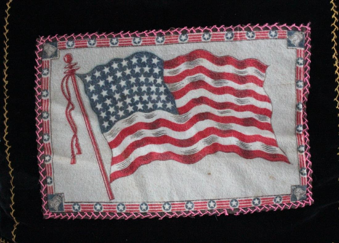 Antique Handmade Feather Pillow with Felt Tobacco Flag - 2