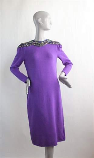 Saks Fifth Avenue Purple Embroidered Dress ca 1980s