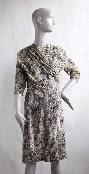 Floral Silk Day Dress ca 1940s