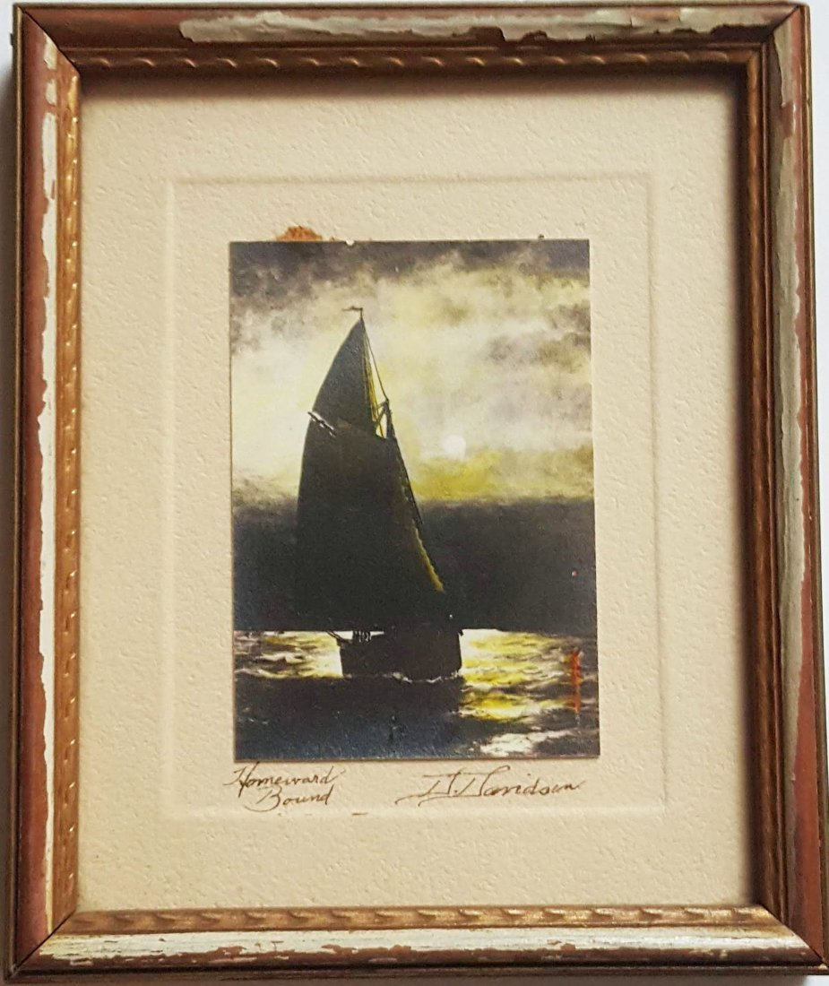 David Davidson Signed Hand Colored Sailboat Photo