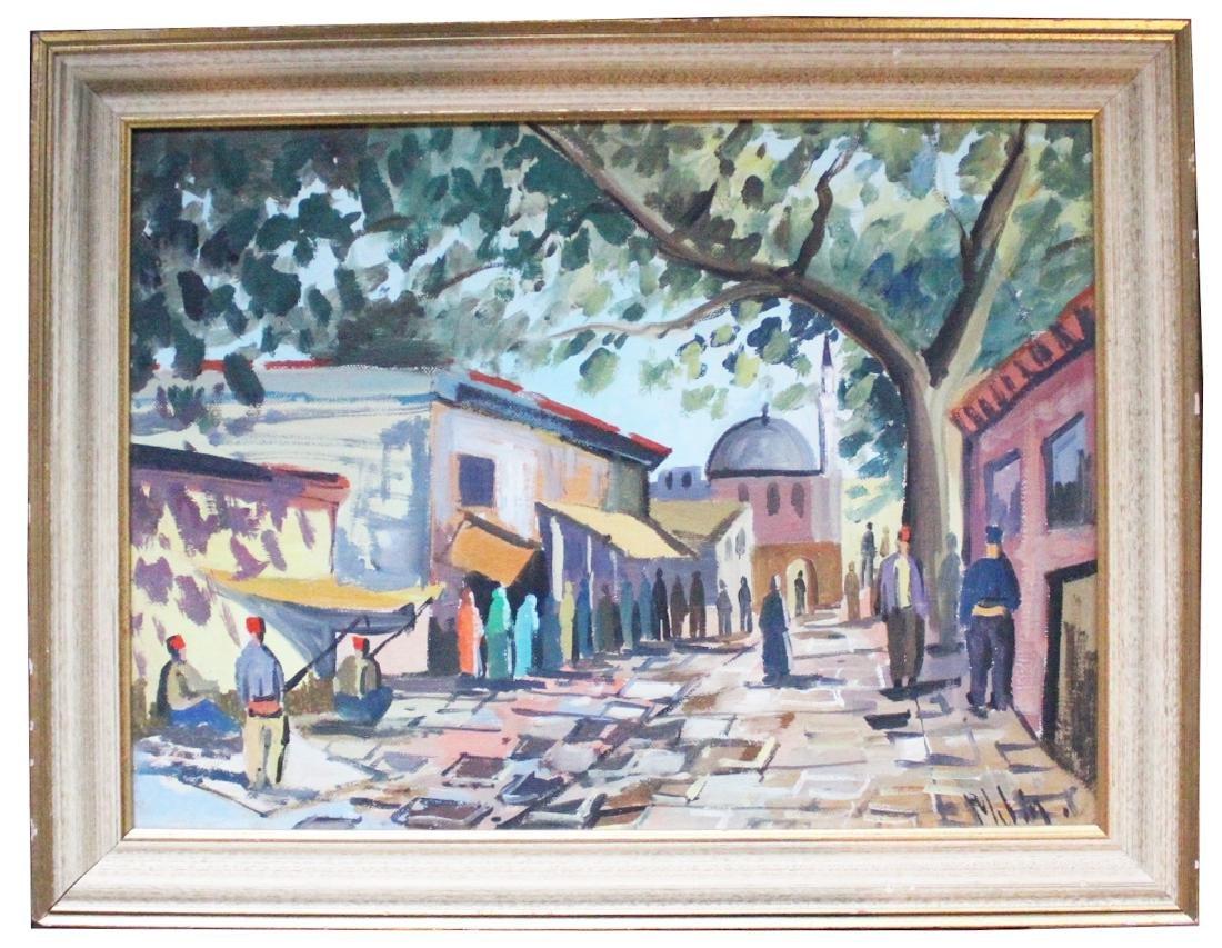 'Mubin' Singed Middle Eastern Street Painting