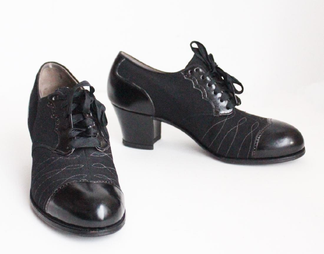 Unworn 1920's Leather & Wool Ladies Shoes