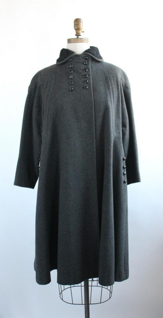 Rafi New York Gray Wool Coat, ca. 1940's