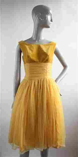Yellow Velvet & Tulle Cocktail Dress, ca. 1950s