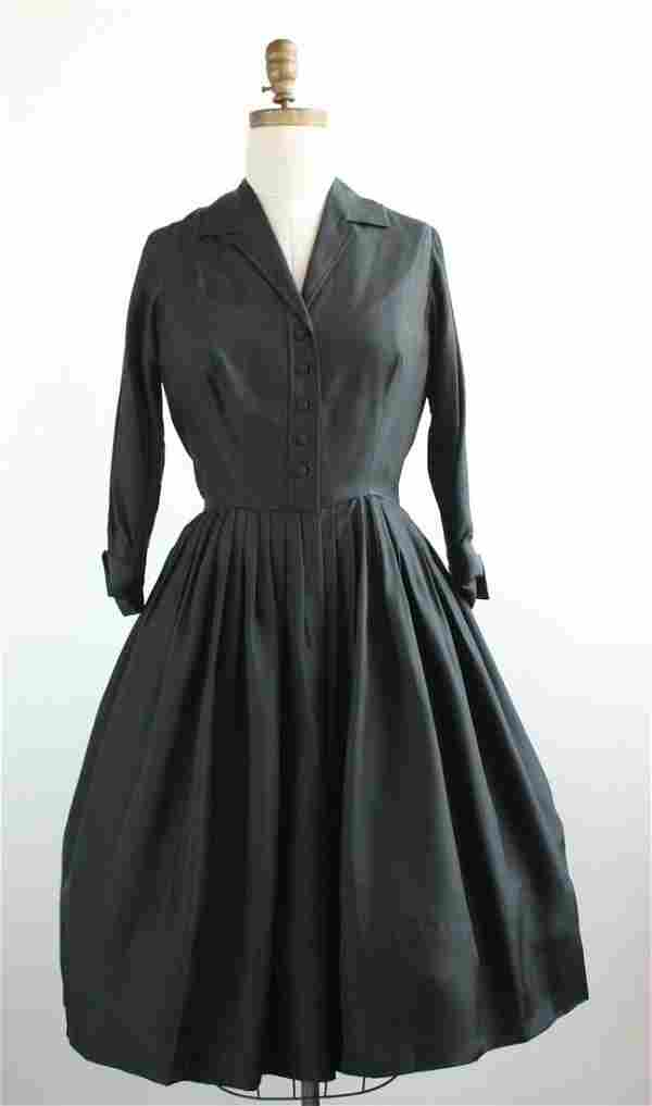 Mollie Parnis Black Silk Dress, 1950s