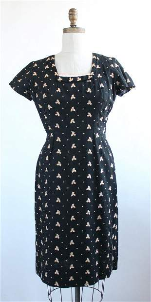 Embroidered Black Linen Dress, ca.1950s