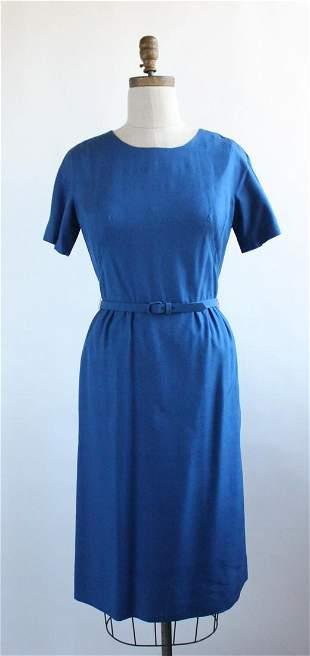 Baron Peters Blue Linen Dress, 1950s