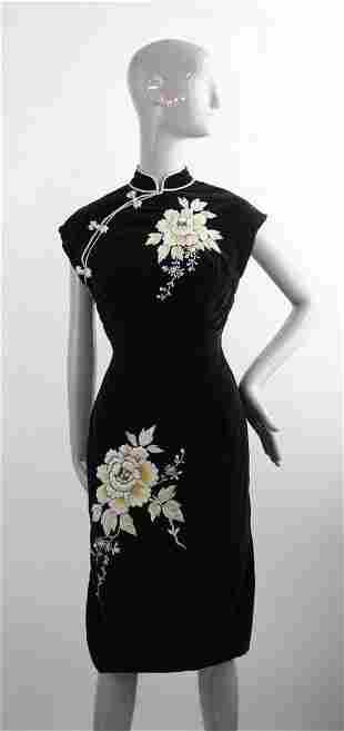 Chinese Embroidered Black Velvet Dress, ca. 1950s