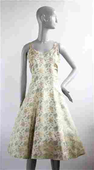 Chinese Brocade Silk Dress, 1950s