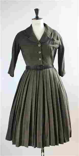 Hardy Amies Green Wool Dress, 1950's