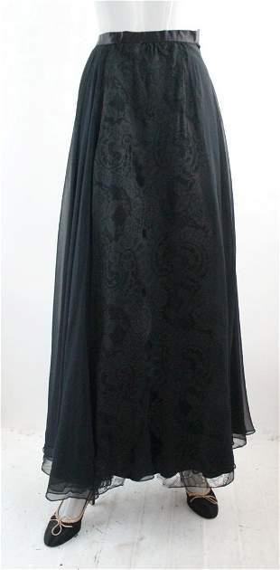 Mainbocher Haute Couture Black Silk Skirt, 1950s